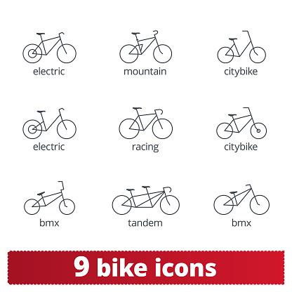 Bike Icons. Vector Set Of Thin Line Bike Signs
