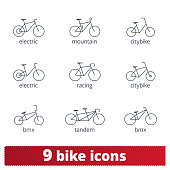 Bicycle thin line icons set. Vector collection of different bike signs. Bmx, tandem, e-bike, city and mountain bike. Isolated on white.