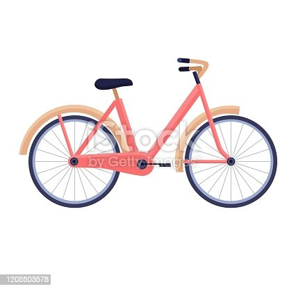 istock Bike in trendy colors on white background, vector flat illustration, sporty lifestyle 1205503578