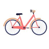Bike in trendy colors on white background, vector flat illustration, sporty lifestyle