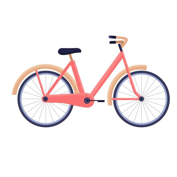bildbanksillustrationer, clip art samt tecknat material och ikoner med cykel i trendiga färger på vit bakgrund, vektor platt illustration, sportig livsstil - cykla