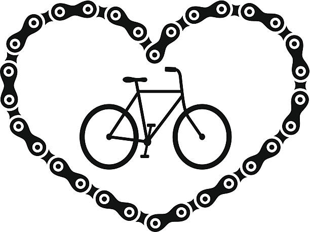 Bike Love Bike symbol love chain symbol.  bicycle chain stock illustrations
