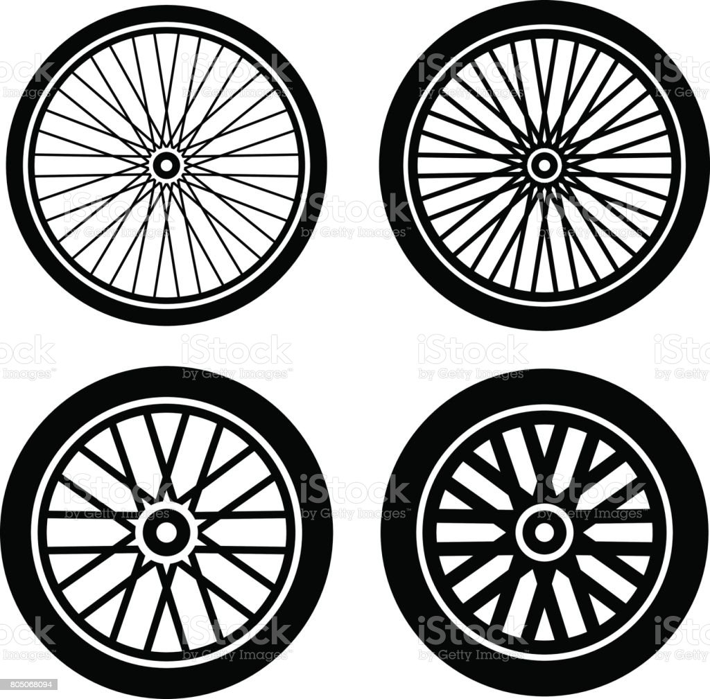 bike motorbike wheels black silhouette vector - illustrazione arte vettoriale