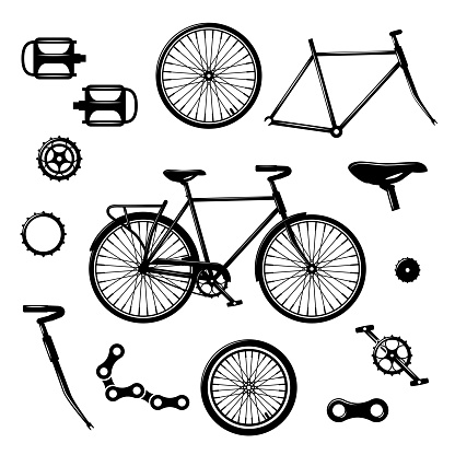 Bike parts. Bicycle equipment and components isolated vector set