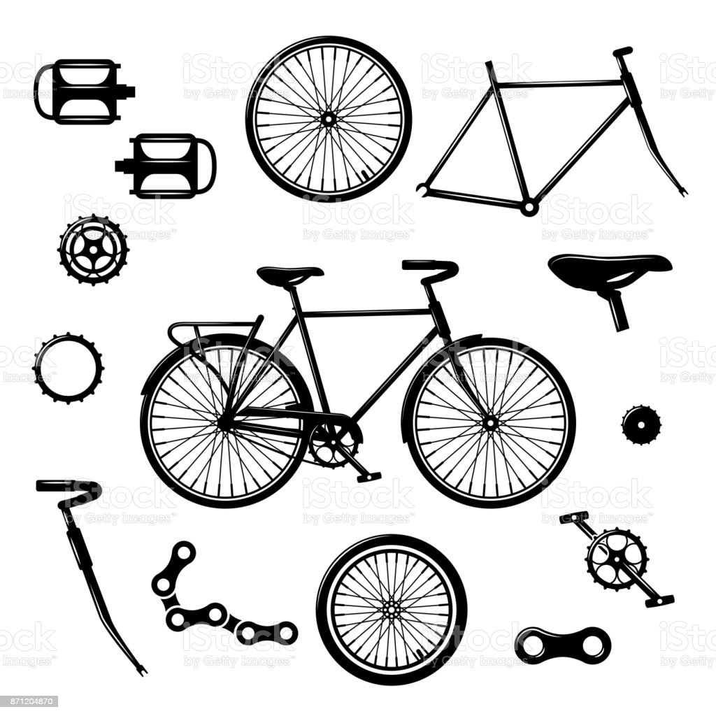 Bike parts. Bicycle equipment and components isolated vector set vector art illustration