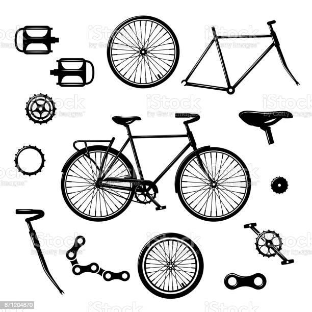 Bike Parts Bicycle Equipment And Components Isolated Vector Set - Arte vetorial de stock e mais imagens de Assento