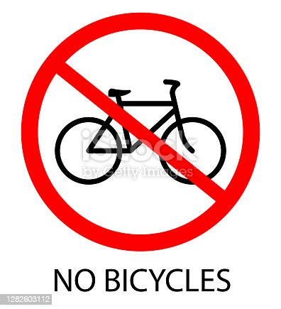 No bicycle. Bicycle prohibition sign, vector illustration