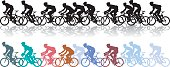 A group of cyclists racing for the finish, comes in mono or color, each cyclist is an individual shape, apart from the group of two 2nd from the rear, who are one shape. All the cycles are easy to move and re-color if required, 3 layers help ease of use.