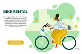 Bike rental service for tourists banner concept.  Woman riding  a rented bike with a geolocation marks and the city on the abstract background. Bicycle sharing vector with the place for your text.