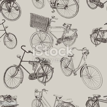 Bike vector seamless repeat. All colors are layered and grouped separately.