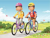 A girl and a boy with cycling helmets and a backpack riding bikes in the countryside. EPS 8, fully editable, grouped and labeled in layers.