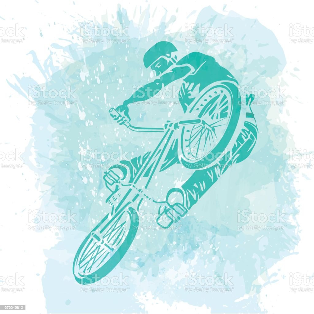 Bike Rider Jumping vector art illustration