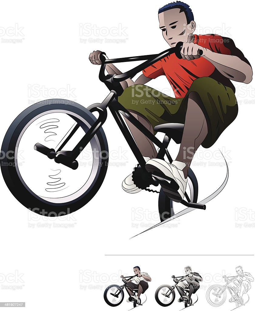 BMX Bike RIder. royalty-free bmx bike rider stock vector art & more images of adult