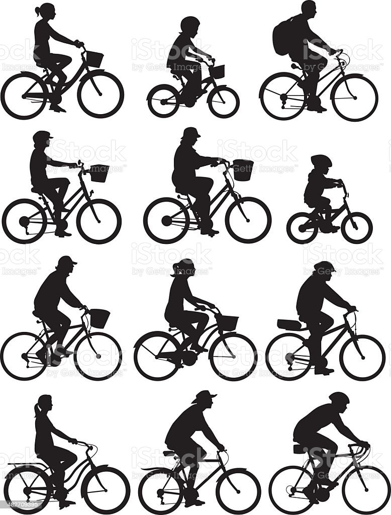 Bike Riders vector art illustration
