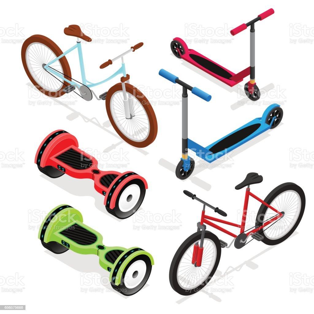 Bike Set Isometric View. Vector vector art illustration