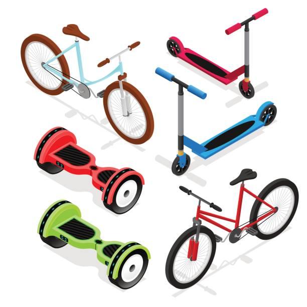 stockillustraties, clipart, cartoons en iconen met fiets set isometrische weergave. vector - step