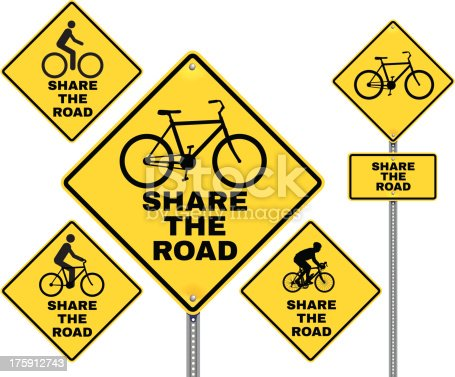 Vector illustration of a share the road sign. Includes variations from realistic to icon style.