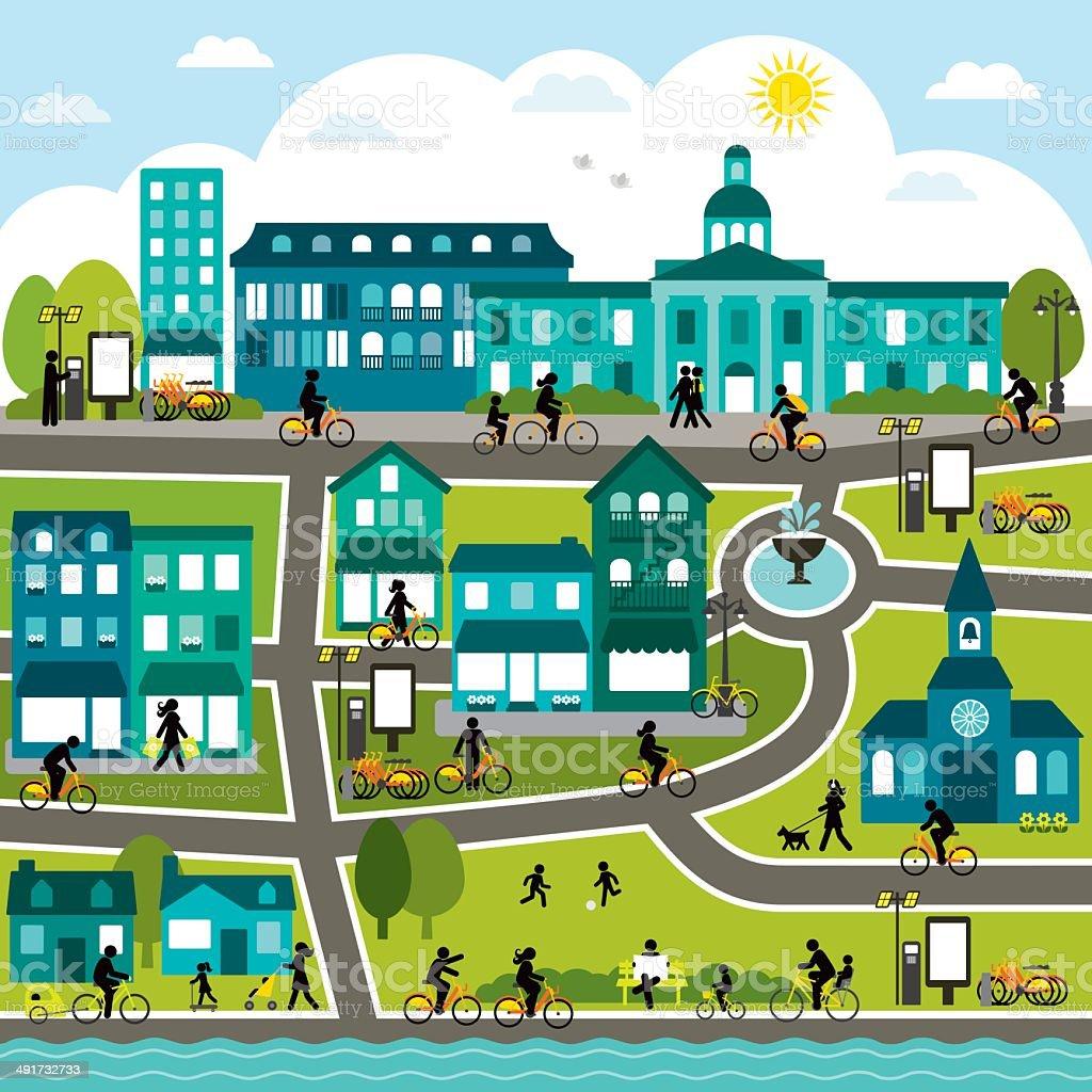Bike Sharing City vector art illustration