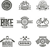 Bike shop, bicycle, biking vintage vector labels, icon, badges and emblems