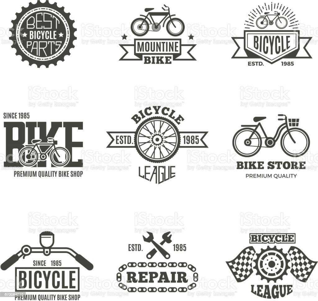 Bike shop, bicycle, biking vintage vector labels, icon, badges and emblems - illustrazione arte vettoriale
