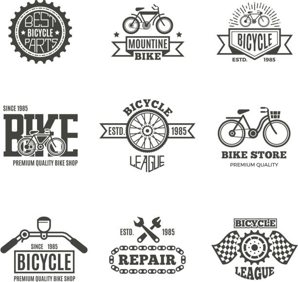 bike shop, bicycle, biking vintage vector labels, icon, badges and emblems - bike stock illustrations, clip art, cartoons, & icons