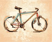 Image shows a bike in sketchy art; vectorimage with only one layer, without opening shapes and gradients; big jpeg (350DPI); digital drawing with free wild style; fantasy drawing; include grunge-retro patterns