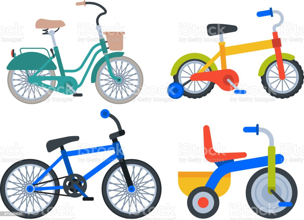 Bike Sport Bicycles Vector Transport Style Old Ride Vehicle Summer ...