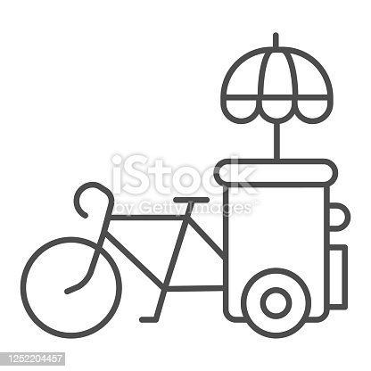 Bike stall thin line icon, Street food concept, Ice cream bicycle cart sign on white background, vending cart with parasol sunshade icon in outline style for mobile and web. Vector graphics