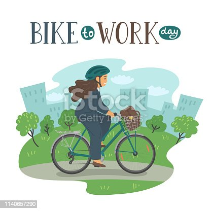 Bike to Work Day. Woman in formal clothes on bike with basket with lettering. Businesswoman with bag cycling in the city park.