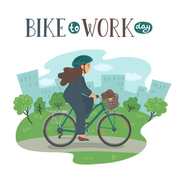 ilustraciones, imágenes clip art, dibujos animados e iconos de stock de día de la bici al trabajo. - andar en bicicleta