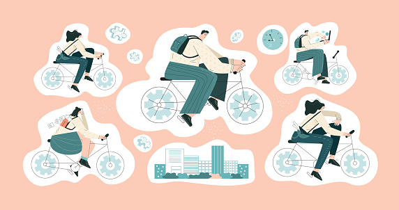 Bike to work  Set of sticker for planner and diaries flat vector illustration  Collection for scrapbook  calendar  typography  reminder  label pack
