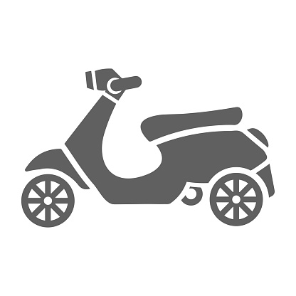 Bike, vespa scooter icon. Gray vector design is isolated on a white background