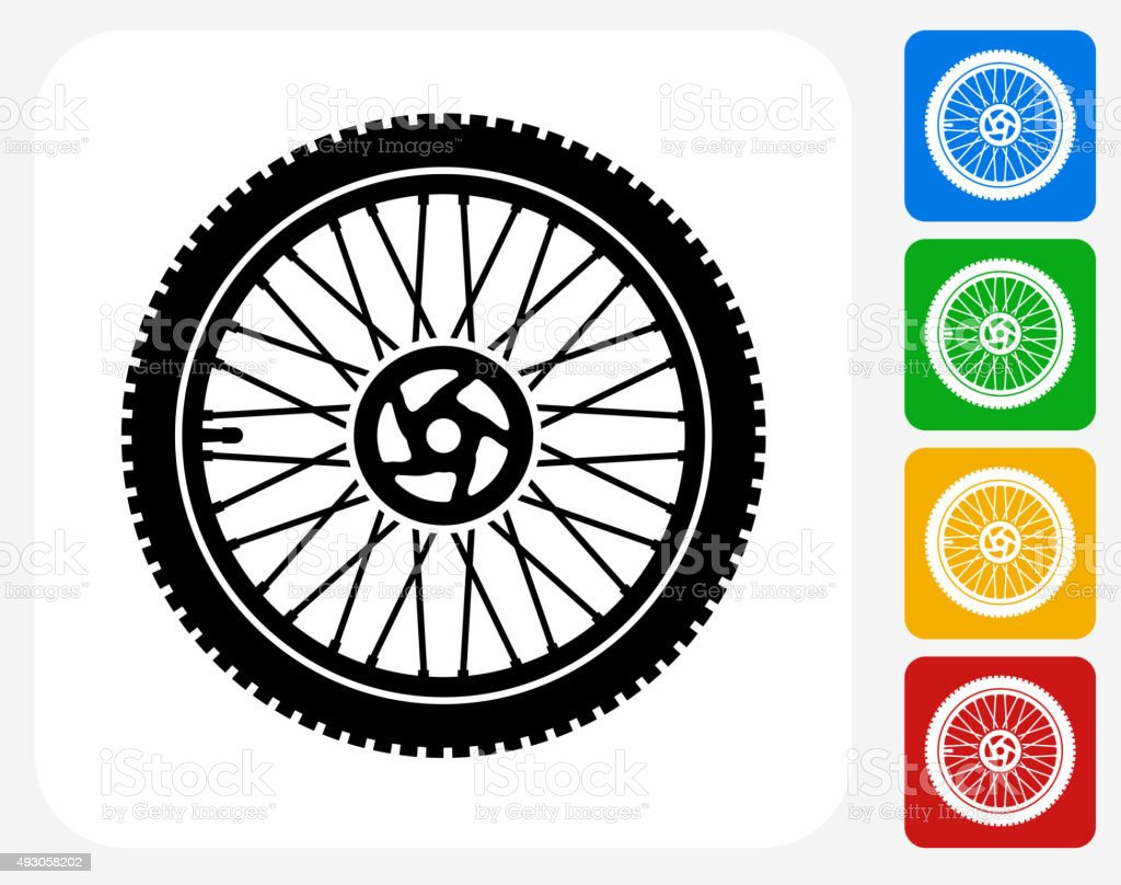 Bike Wheel Icon Flat Graphic Design vector art illustration