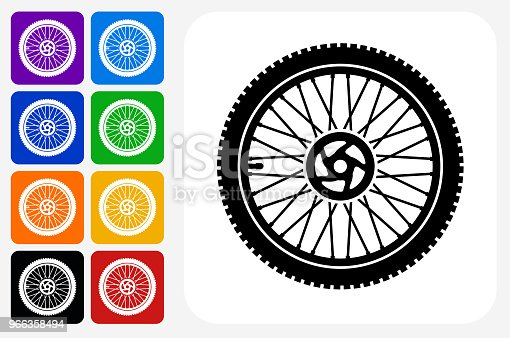Bike Wheel Icon Square Button Set. The icon is in black on a white square with rounded corners. The are eight alternative button options on the left in purple, blue, navy, green, orange, yellow, black and red colors. The icon is in white against these vibrant backgrounds. The illustration is flat and will work well both online and in print.