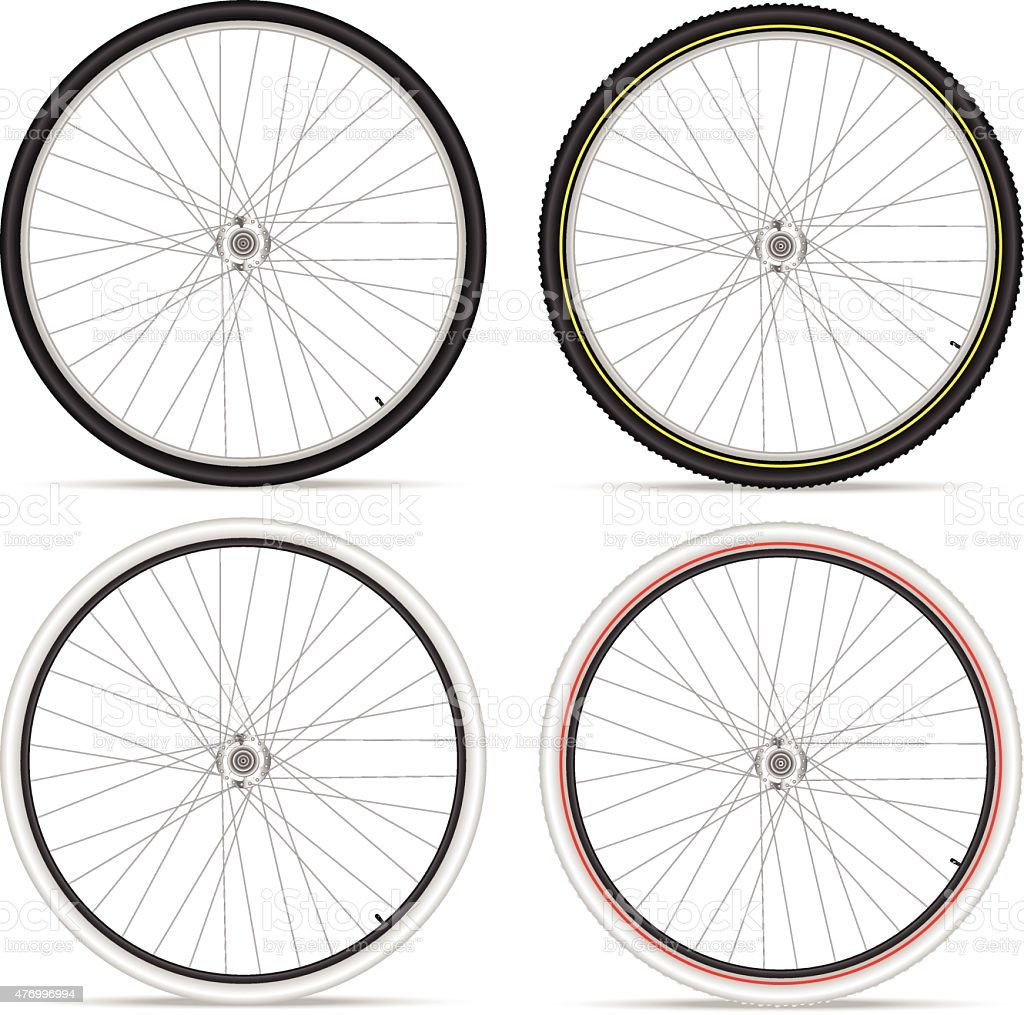 bike wheels vector art illustration