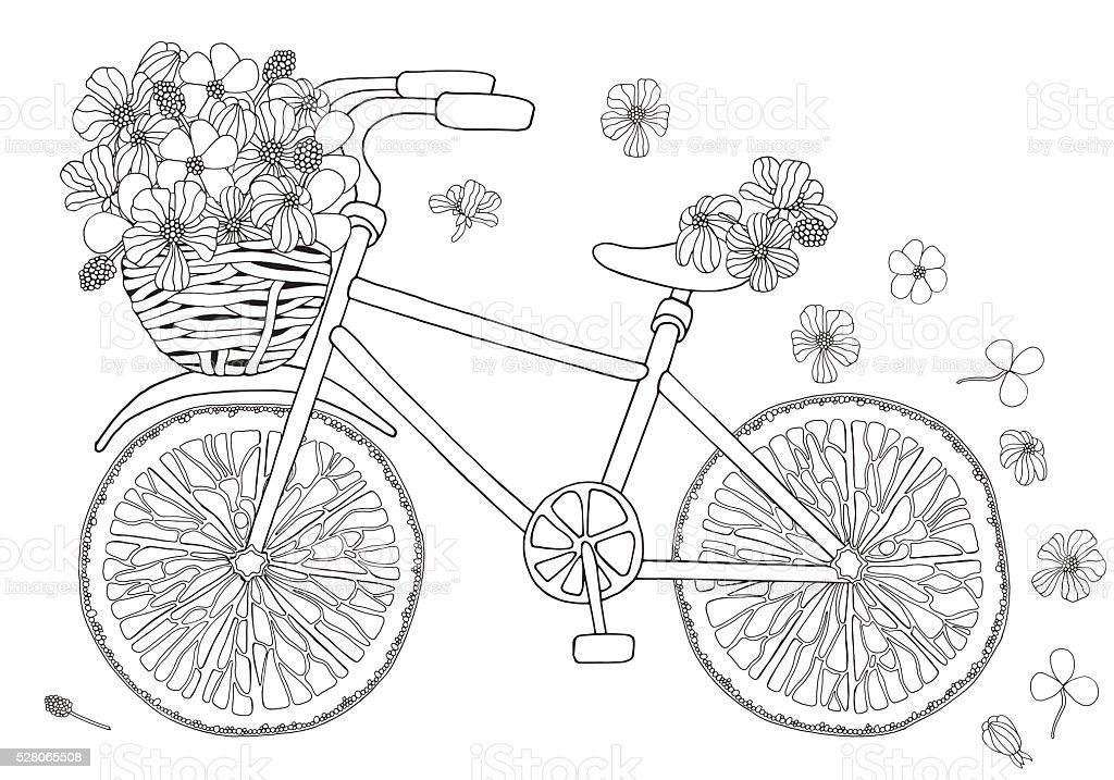 fahrrad mit blumen im korb auf ein weißer hintergrund