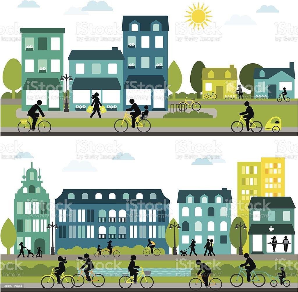 Bicicleta-amigável cidade-Horizontal Design - ilustração de arte em vetor