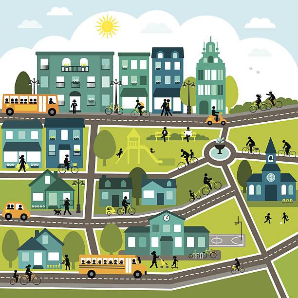 ilustraciones, imágenes clip art, dibujos animados e iconos de stock de bicicleta de la ciudad - autobuses escolares