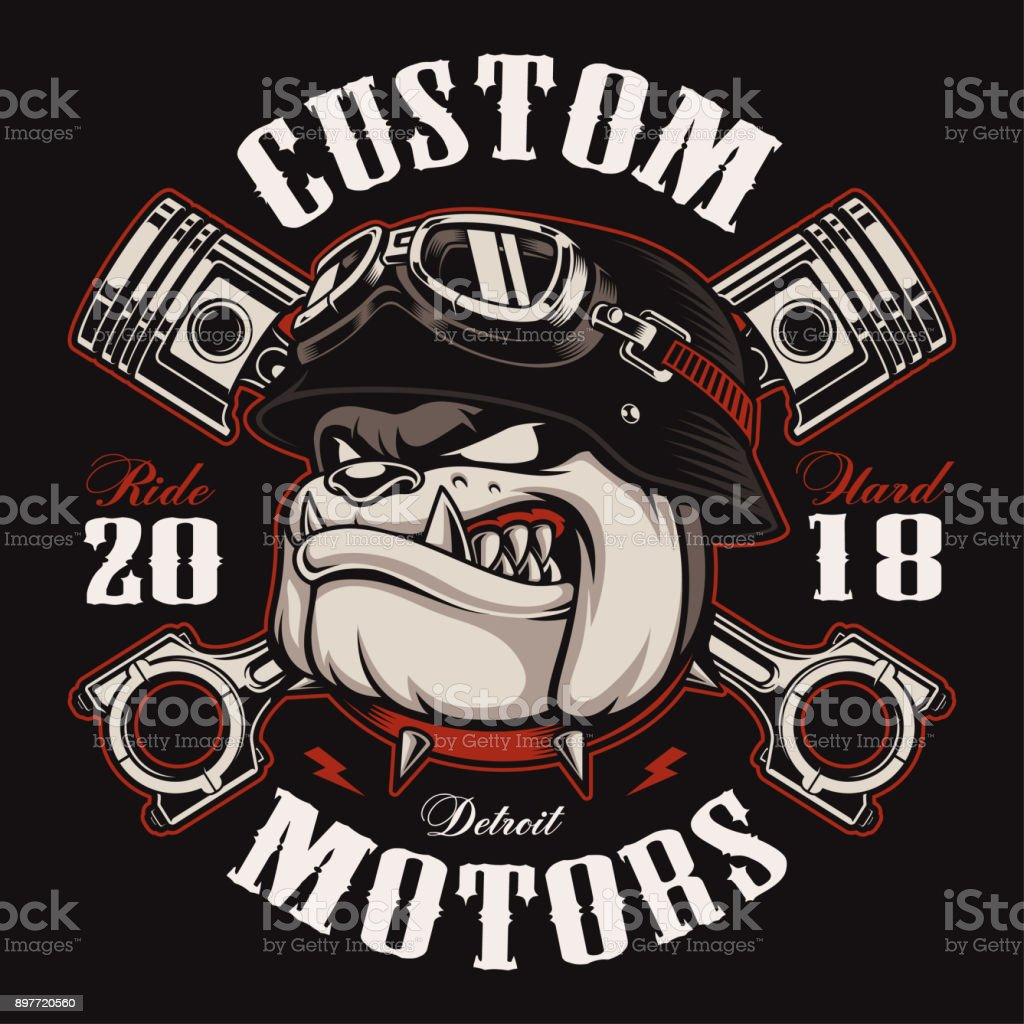 Biker Bulldog biker t-shirt design (color version) vector art illustration