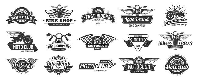 Biker club emblems. Retro motorcycle rider badges, moto sports emblem and motorbike silhouette badge vector set