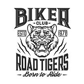 Bikers club emblem, tiger claw torn icon, custom motorcycle racers and motorbike racing. Vector Toad Tigers club grunge T-shirt print, chopper motorbike gang garage sign