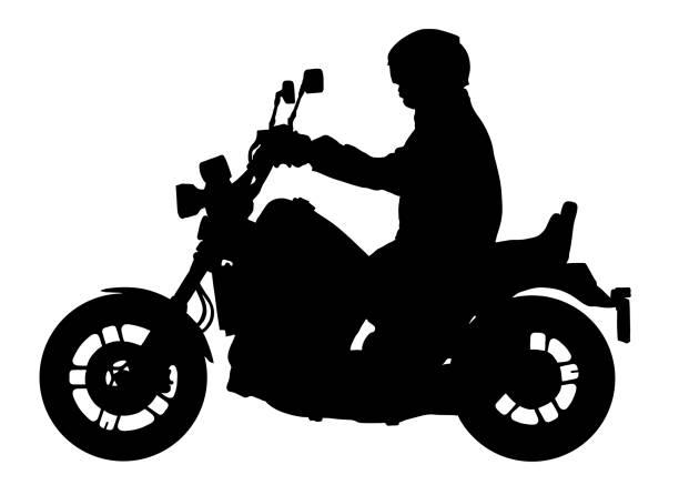 bildbanksillustrationer, clip art samt tecknat material och ikoner med biker kör en motorcykel vektor silhuett, motorcyklist illustration - motorcyklist