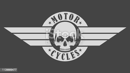 Illustration emblem biker skull wings and text motorcycles on a gray background.