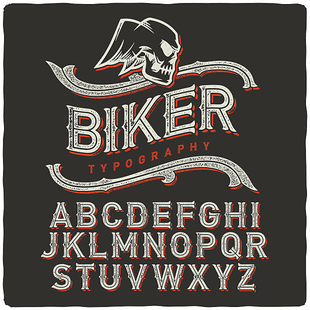 Biker Font vector art illustration