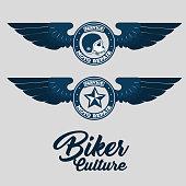 biker for life emblem biker culture in blue vector illustration graphic design