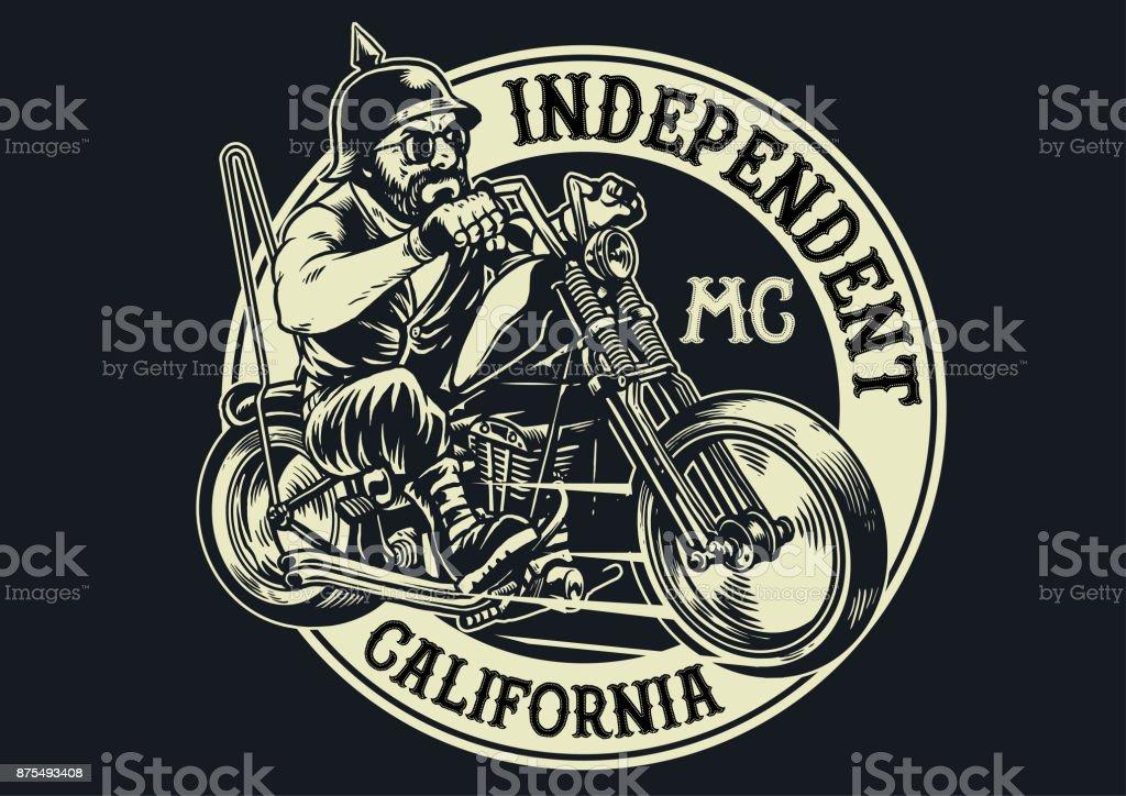 biker gang member riding motorcycle vector art illustration