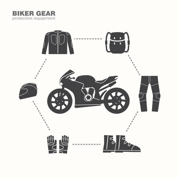 biker-zahnrad-symbol, schutzausrüstung - funktionsjacke stock-grafiken, -clipart, -cartoons und -symbole