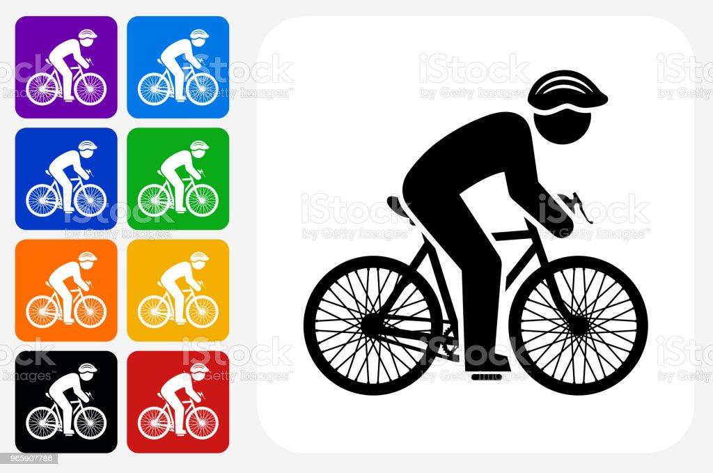 Biker Icon Square Button Set - Royalty-free Athlete stock vector