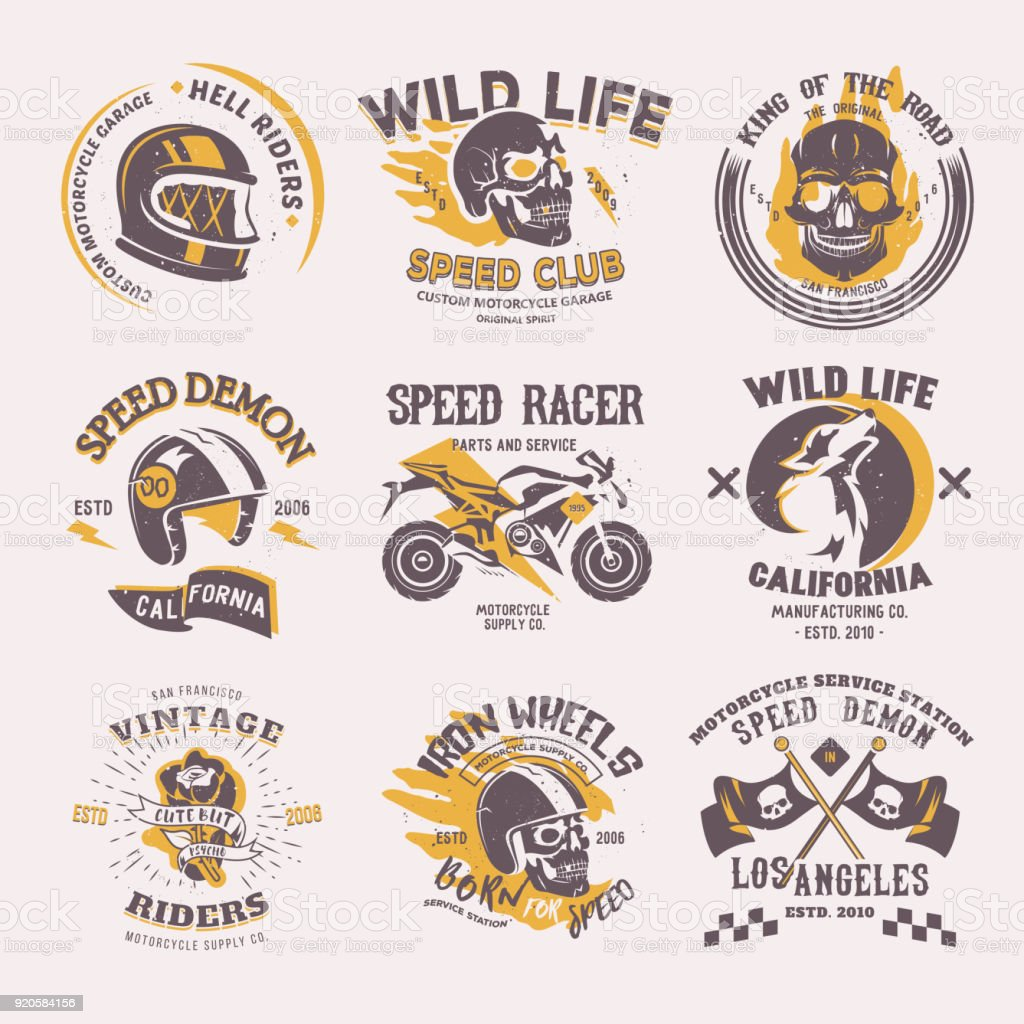 Biker icon vector rider on motorcycle or bike and speed motorcyclist racer on icontype motor emblem illustration racing set isolated on white background vector art illustration