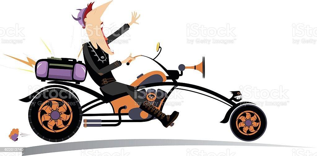 Biker man vector art illustration